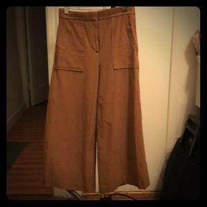 Tan Ann Taylor wide leg crop pants.